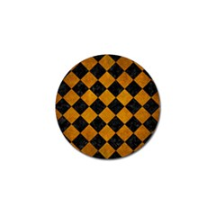 Square2 Black Marble & Yellow Grunge Golf Ball Marker by trendistuff