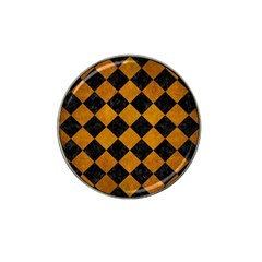 Square2 Black Marble & Yellow Grunge Hat Clip Ball Marker by trendistuff