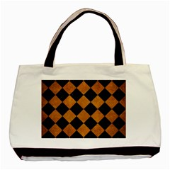 Square2 Black Marble & Yellow Grunge Basic Tote Bag by trendistuff