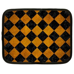 Square2 Black Marble & Yellow Grunge Netbook Case (xl)  by trendistuff