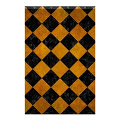 Square2 Black Marble & Yellow Grunge Shower Curtain 48  X 72  (small)  by trendistuff