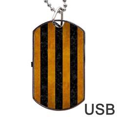 Stripes1 Black Marble & Yellow Grunge Dog Tag Usb Flash (one Side) by trendistuff