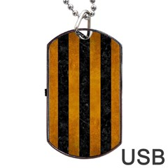 Stripes1 Black Marble & Yellow Grunge Dog Tag Usb Flash (two Sides) by trendistuff