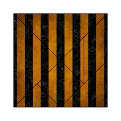 Stripes1 Black Marble & Yellow Grunge Acrylic Tangram Puzzle (6  X 6 ) by trendistuff