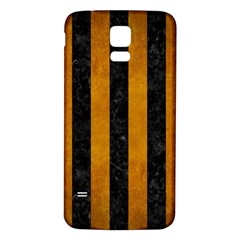 Stripes1 Black Marble & Yellow Grunge Samsung Galaxy S5 Back Case (white) by trendistuff
