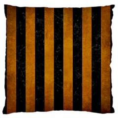 Stripes1 Black Marble & Yellow Grunge Large Flano Cushion Case (one Side) by trendistuff