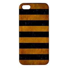 Stripes2 Black Marble & Yellow Grunge Apple Iphone 5 Premium Hardshell Case by trendistuff