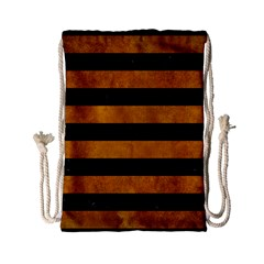 Stripes2 Black Marble & Yellow Grunge Drawstring Bag (small) by trendistuff