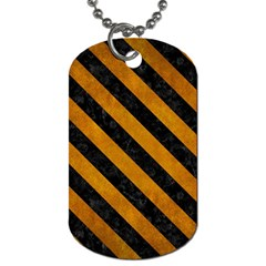 Stripes3 Black Marble & Yellow Grunge Dog Tag (two Sides) by trendistuff
