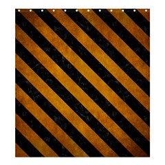 Stripes3 Black Marble & Yellow Grunge Shower Curtain 66  X 72  (large)  by trendistuff