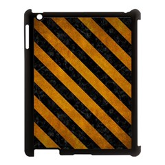Stripes3 Black Marble & Yellow Grunge Apple Ipad 3/4 Case (black) by trendistuff