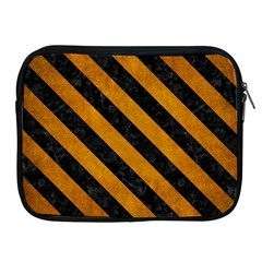 Stripes3 Black Marble & Yellow Grunge Apple Ipad 2/3/4 Zipper Cases by trendistuff