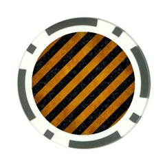 Stripes3 Black Marble & Yellow Grunge (r) Poker Chip Card Guard by trendistuff