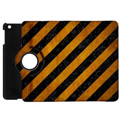 Stripes3 Black Marble & Yellow Grunge (r) Apple Ipad Mini Flip 360 Case