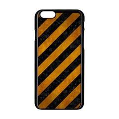Stripes3 Black Marble & Yellow Grunge (r) Apple Iphone 6/6s Black Enamel Case by trendistuff