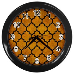Tile1 Black Marble & Yellow Grunge Wall Clocks (black) by trendistuff