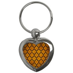 Tile1 Black Marble & Yellow Grunge Key Chains (heart)  by trendistuff