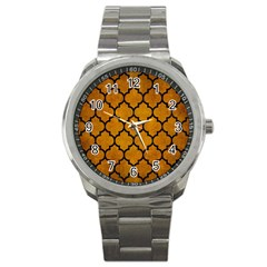 Tile1 Black Marble & Yellow Grunge Sport Metal Watch by trendistuff