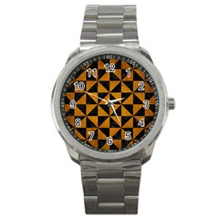Triangle1 Black Marble & Yellow Grunge Sport Metal Watch by trendistuff