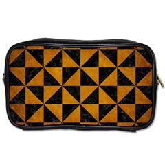Triangle1 Black Marble & Yellow Grunge Toiletries Bags by trendistuff