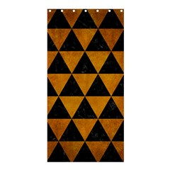 Triangle3 Black Marble & Yellow Grunge Shower Curtain 36  X 72  (stall)  by trendistuff