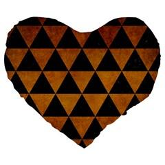 Triangle3 Black Marble & Yellow Grunge Large 19  Premium Flano Heart Shape Cushions by trendistuff