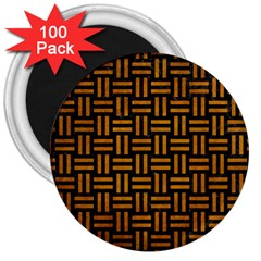 Woven1 Black Marble & Yellow Grunge (r) 3  Magnets (100 Pack) by trendistuff