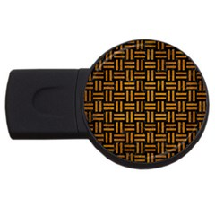 Woven1 Black Marble & Yellow Grunge (r) Usb Flash Drive Round (4 Gb) by trendistuff