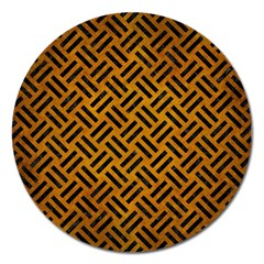 Woven2 Black Marble & Yellow Grunge Magnet 5  (round) by trendistuff