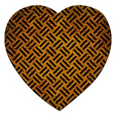 Woven2 Black Marble & Yellow Grunge Jigsaw Puzzle (heart) by trendistuff
