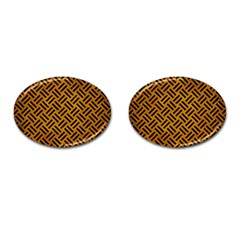 Woven2 Black Marble & Yellow Grunge Cufflinks (oval) by trendistuff