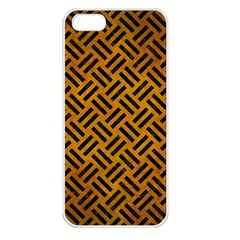 Woven2 Black Marble & Yellow Grunge Apple Iphone 5 Seamless Case (white) by trendistuff
