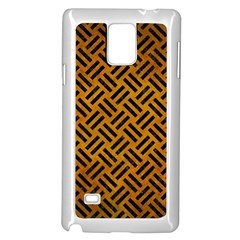 Woven2 Black Marble & Yellow Grunge Samsung Galaxy Note 4 Case (white) by trendistuff