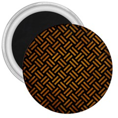 Woven2 Black Marble & Yellow Grunge (r) 3  Magnets by trendistuff