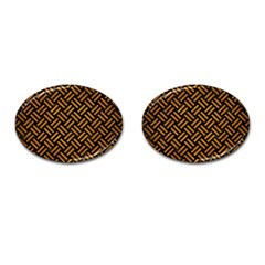 Woven2 Black Marble & Yellow Grunge (r) Cufflinks (oval) by trendistuff