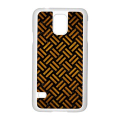 Woven2 Black Marble & Yellow Grunge (r) Samsung Galaxy S5 Case (white)