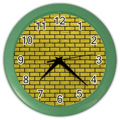 Brick1 Black Marble & Yellow Leather Color Wall Clocks by trendistuff