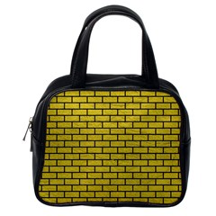 Brick1 Black Marble & Yellow Leather Classic Handbags (one Side)