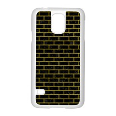 Brick1 Black Marble & Yellow Leather (r) Samsung Galaxy S5 Case (white)