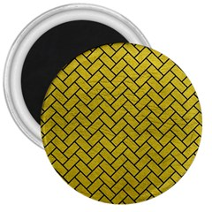 Brick2 Black Marble & Yellow Leather 3  Magnets by trendistuff