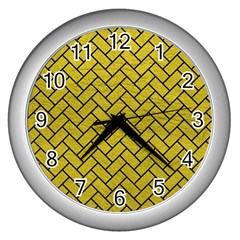Brick2 Black Marble & Yellow Leather Wall Clocks (silver)  by trendistuff