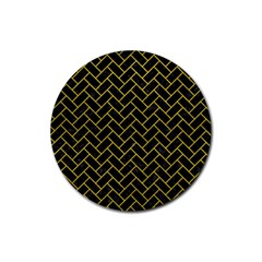 Brick2 Black Marble & Yellow Leather (r) Rubber Round Coaster (4 Pack)  by trendistuff