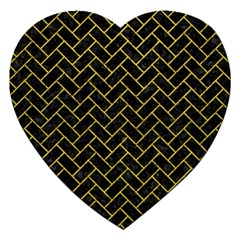 Brick2 Black Marble & Yellow Leather (r) Jigsaw Puzzle (heart)