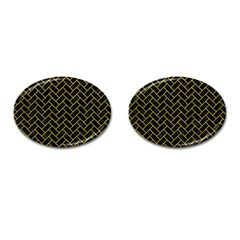 Brick2 Black Marble & Yellow Leather (r) Cufflinks (oval) by trendistuff