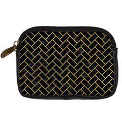 Brick2 Black Marble & Yellow Leather (r) Digital Camera Cases by trendistuff