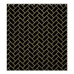 Brick2 Black Marble & Yellow Leather (r) Shower Curtain 66  X 72  (large)  by trendistuff