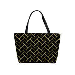 Brick2 Black Marble & Yellow Leather (r) Shoulder Handbags by trendistuff