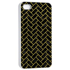 Brick2 Black Marble & Yellow Leather (r) Apple Iphone 4/4s Seamless Case (white) by trendistuff
