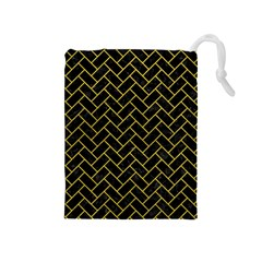 Brick2 Black Marble & Yellow Leather (r) Drawstring Pouches (medium)  by trendistuff