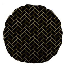 Brick2 Black Marble & Yellow Leather (r) Large 18  Premium Flano Round Cushions by trendistuff